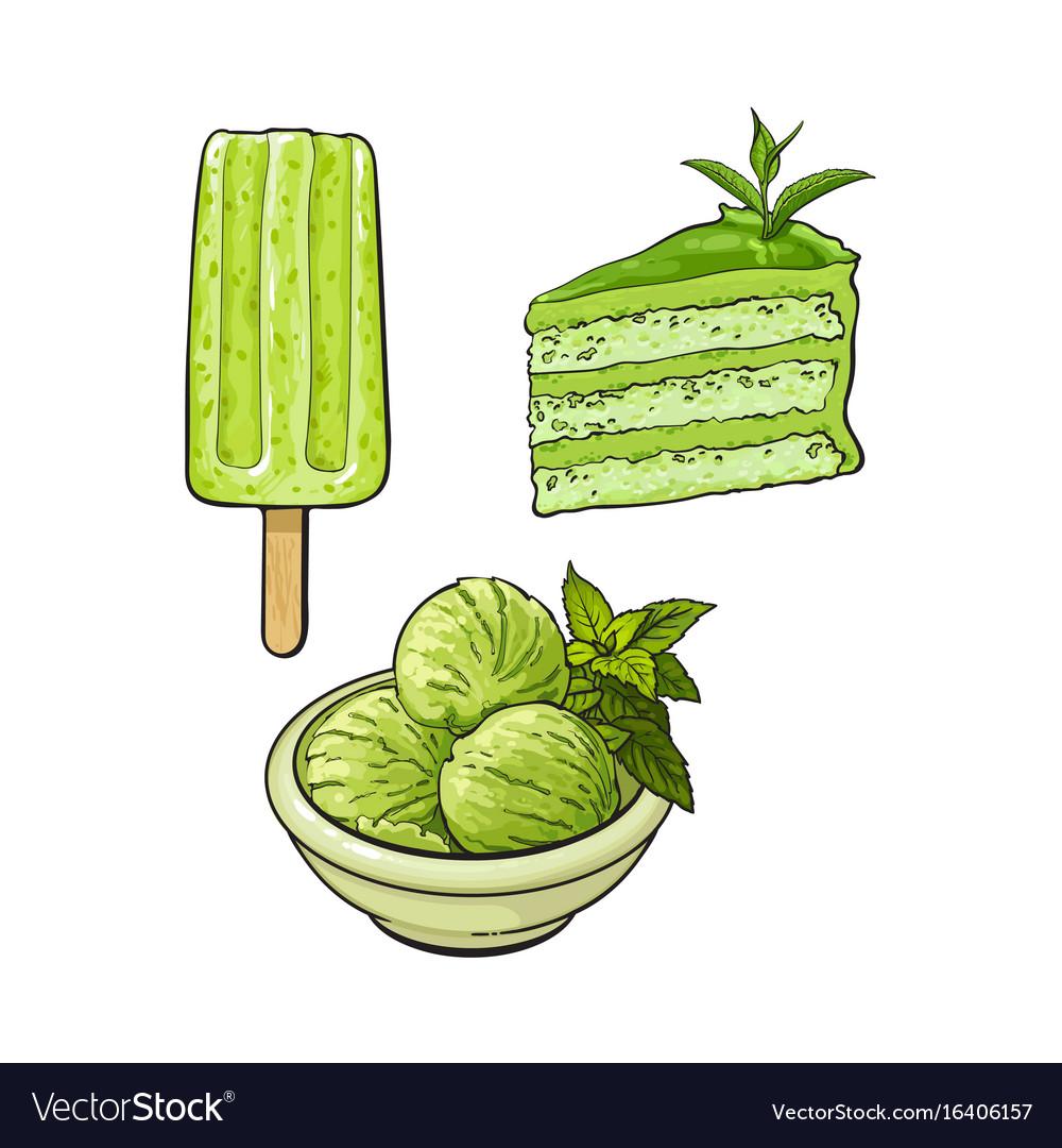 matcha green tea ice cream cake popsicle vector image