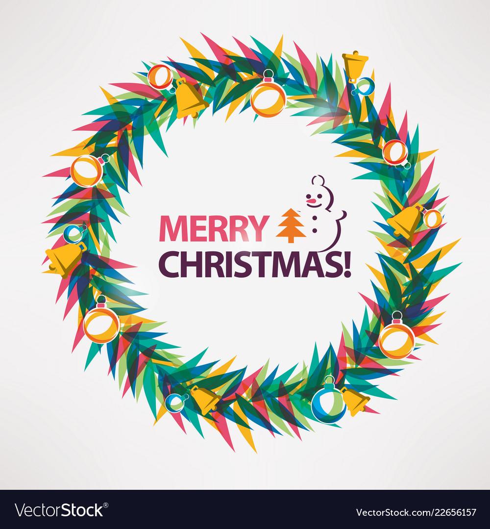 Merry christmas card wreath circle frame
