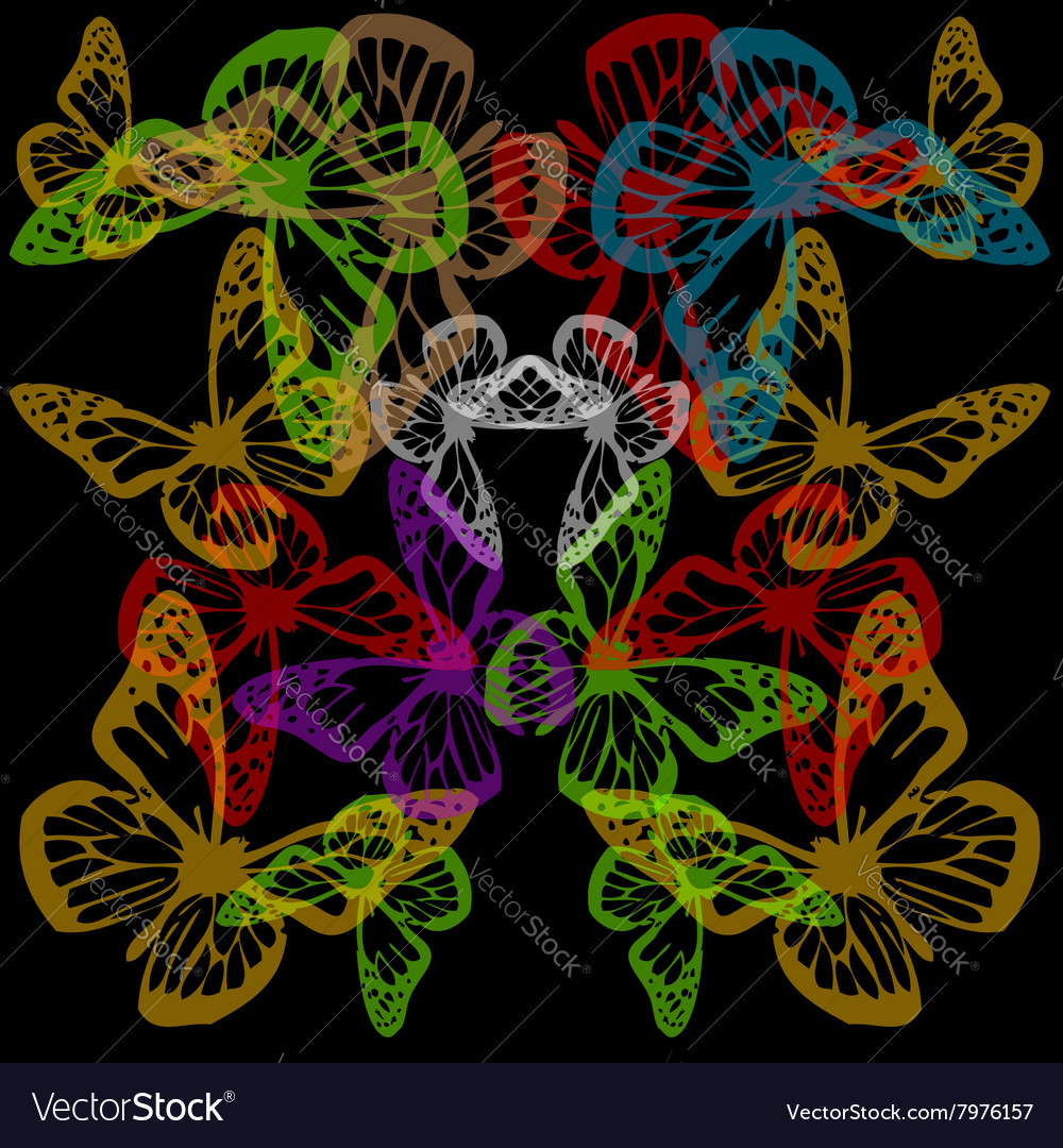 Multiple colorful butterflies background on black vector image