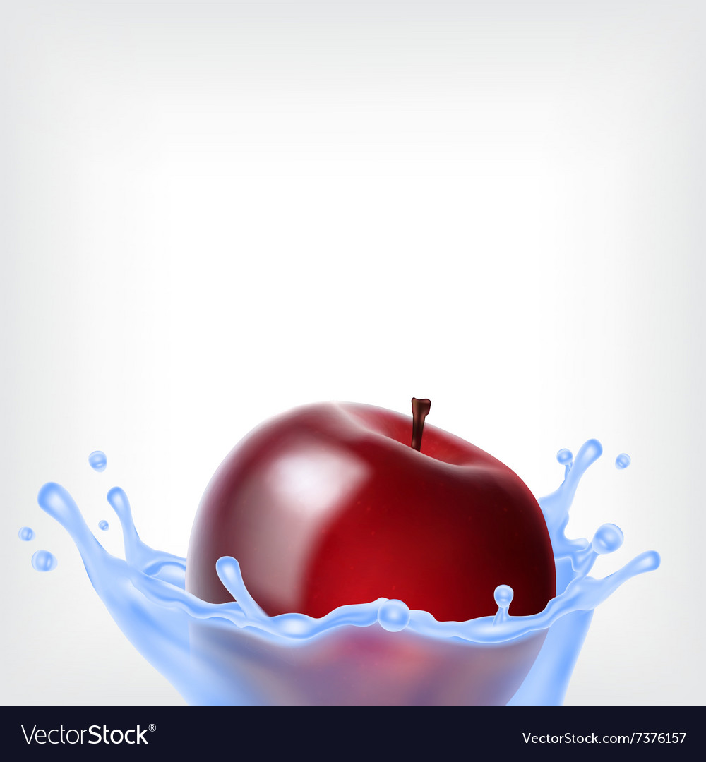 Red apple with water