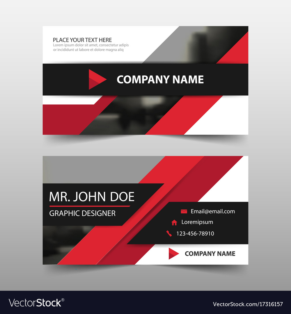 Red corporate business card name card template vector image fbccfo