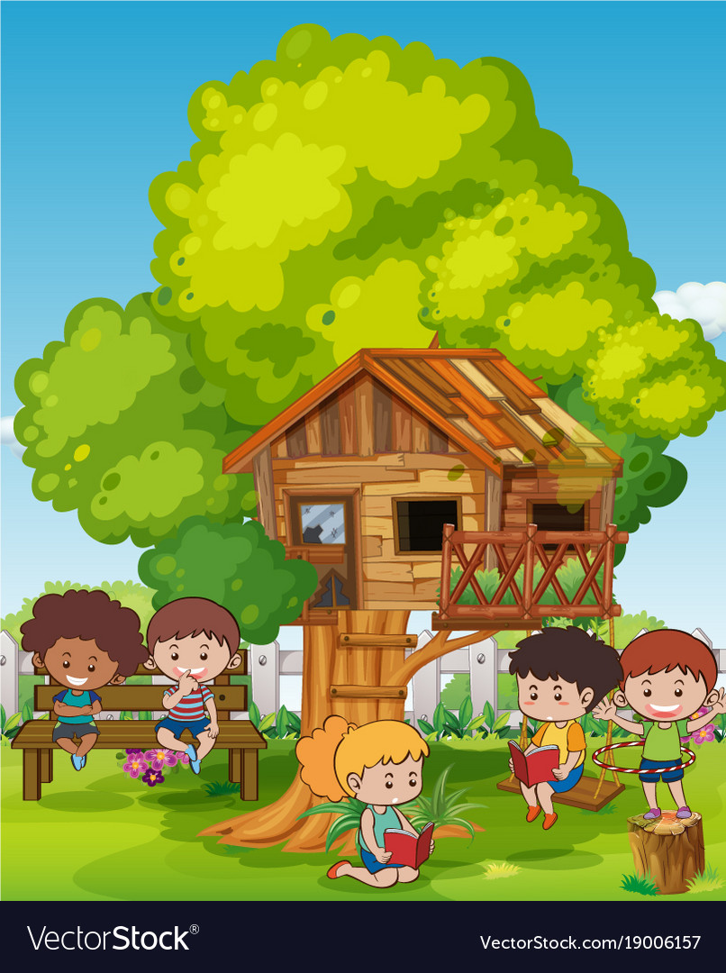Scene with kids and treehouse vector image