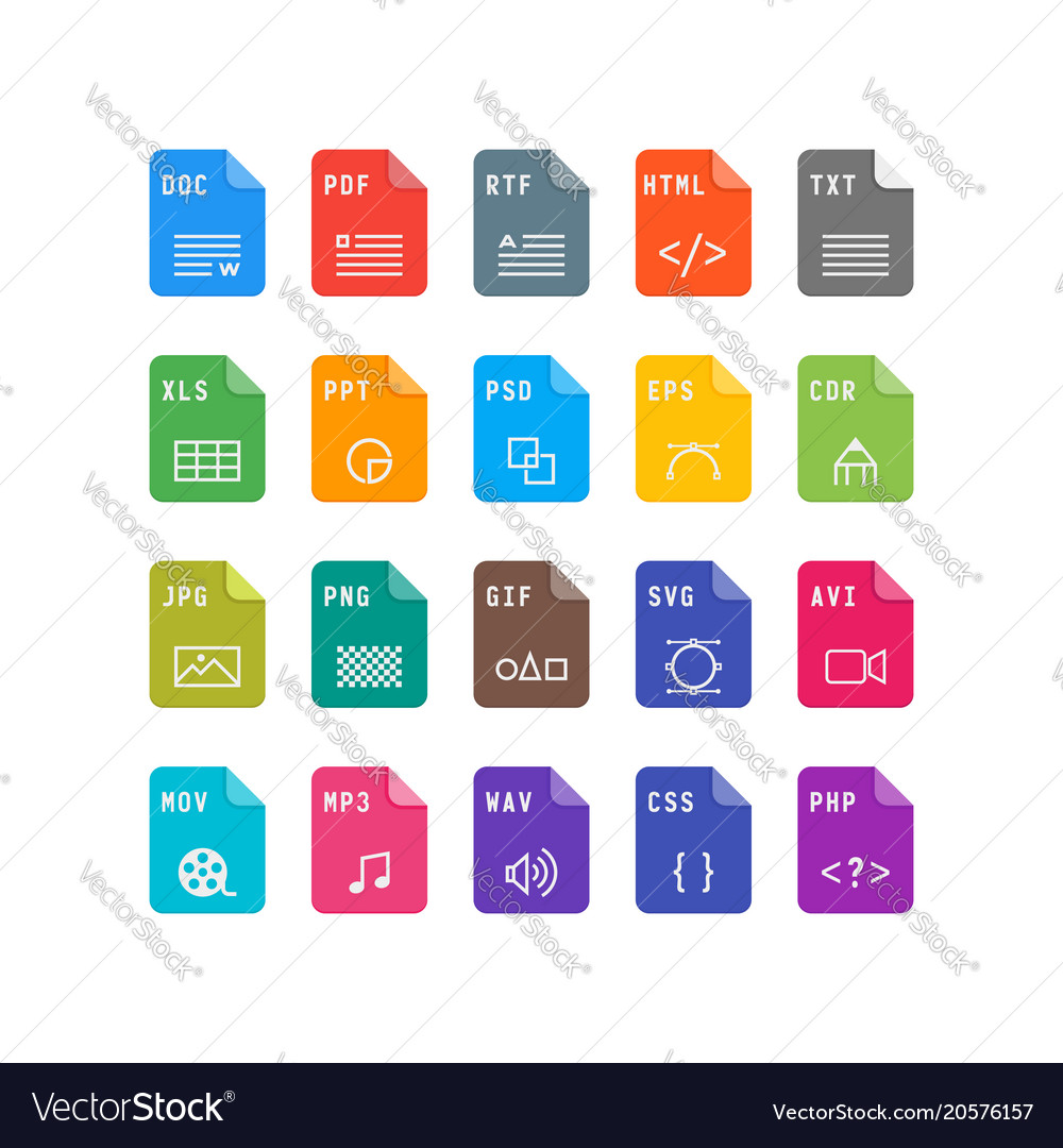 Set of file format flat icons