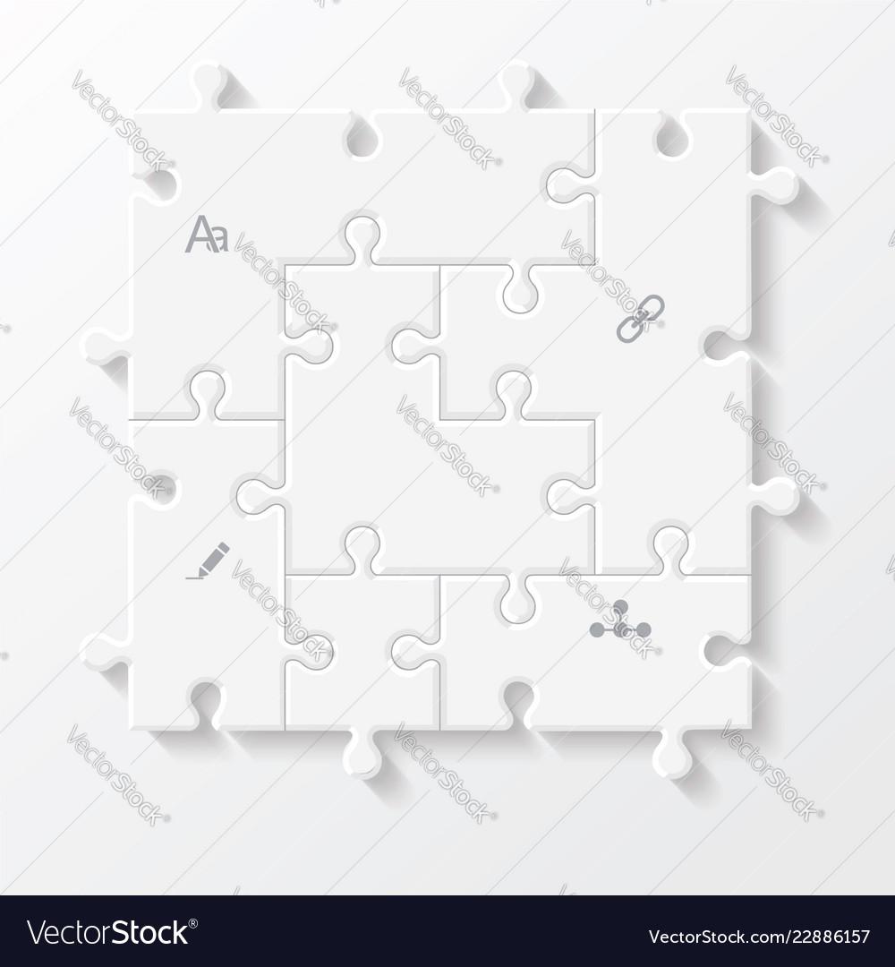 Set puzzle pieces jigsaw business infographics