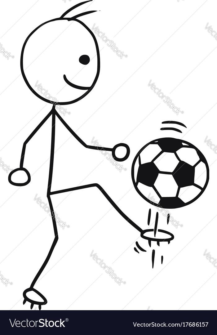 Stickman cartoon of soccer football player
