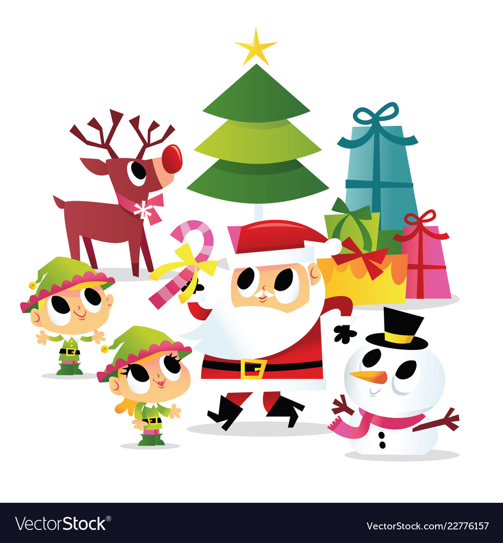 Christmas Party Images Clip Art.Super Cute Cartoon Santa And Elves Christmas Party
