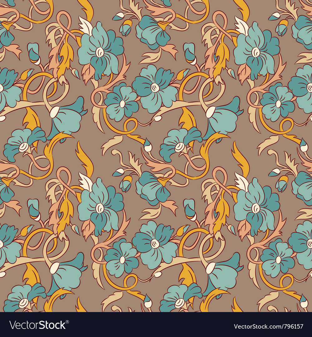 Vintage Style Floral Wallpaper Royalty Free Vector Image