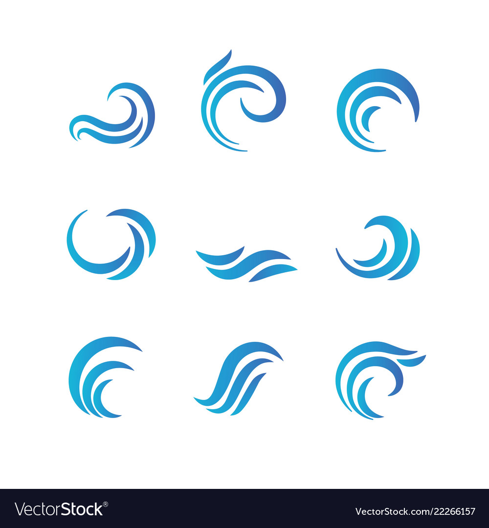 Wave emblems ocean water abstract isolated