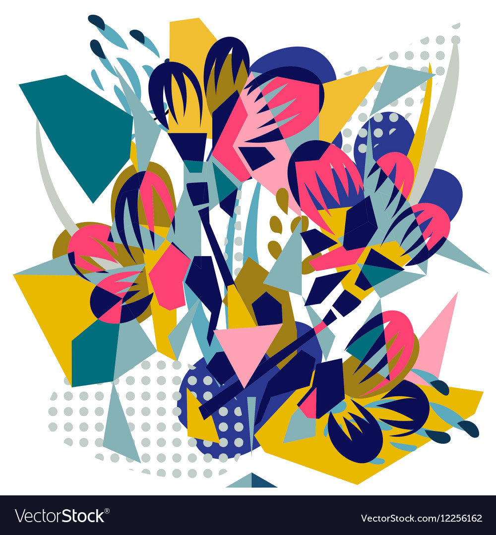 Abstract Floral Elements Paper Collage Royalty Free Vector