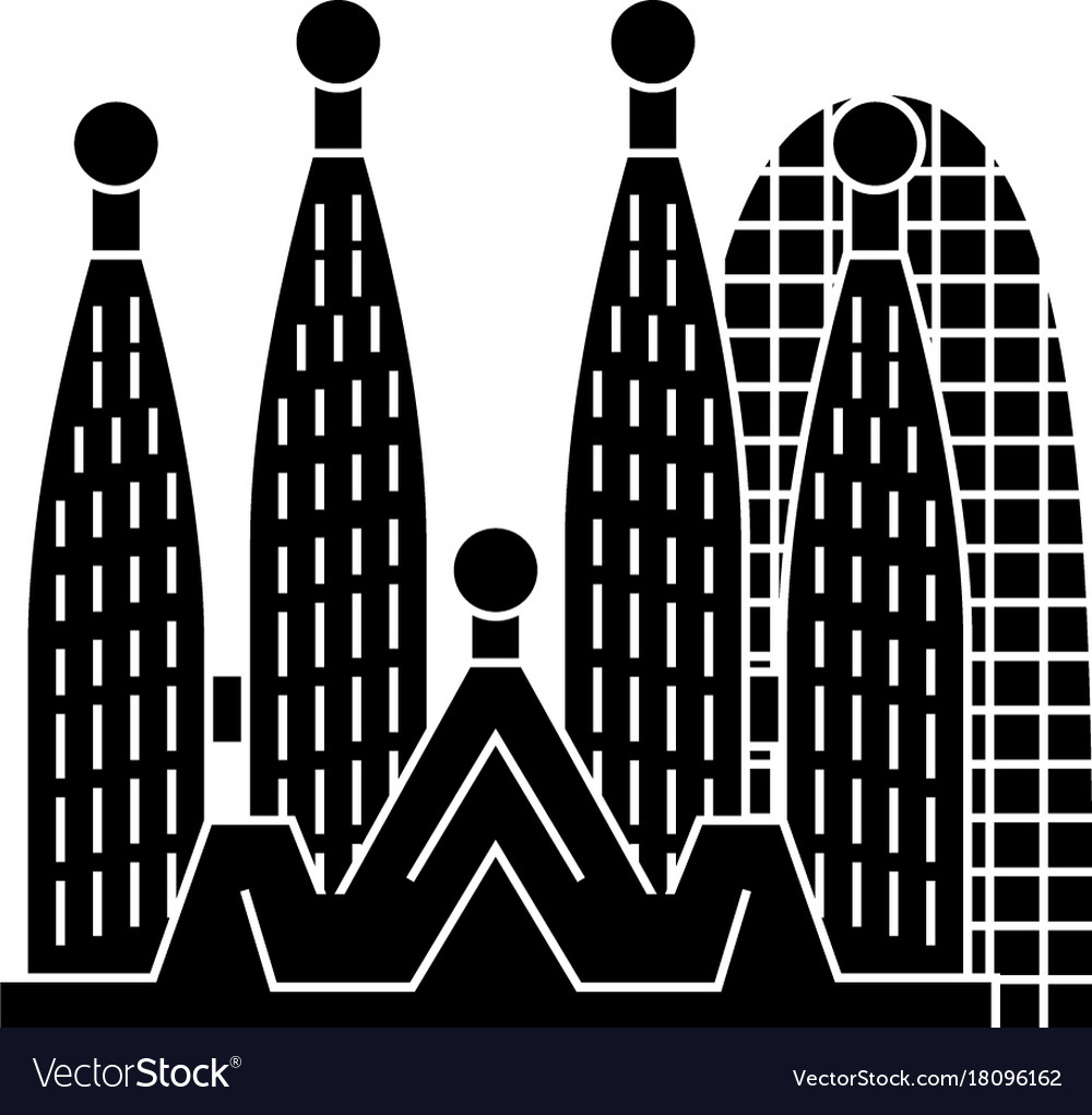 Barcelona - sagrada familia icon vector image