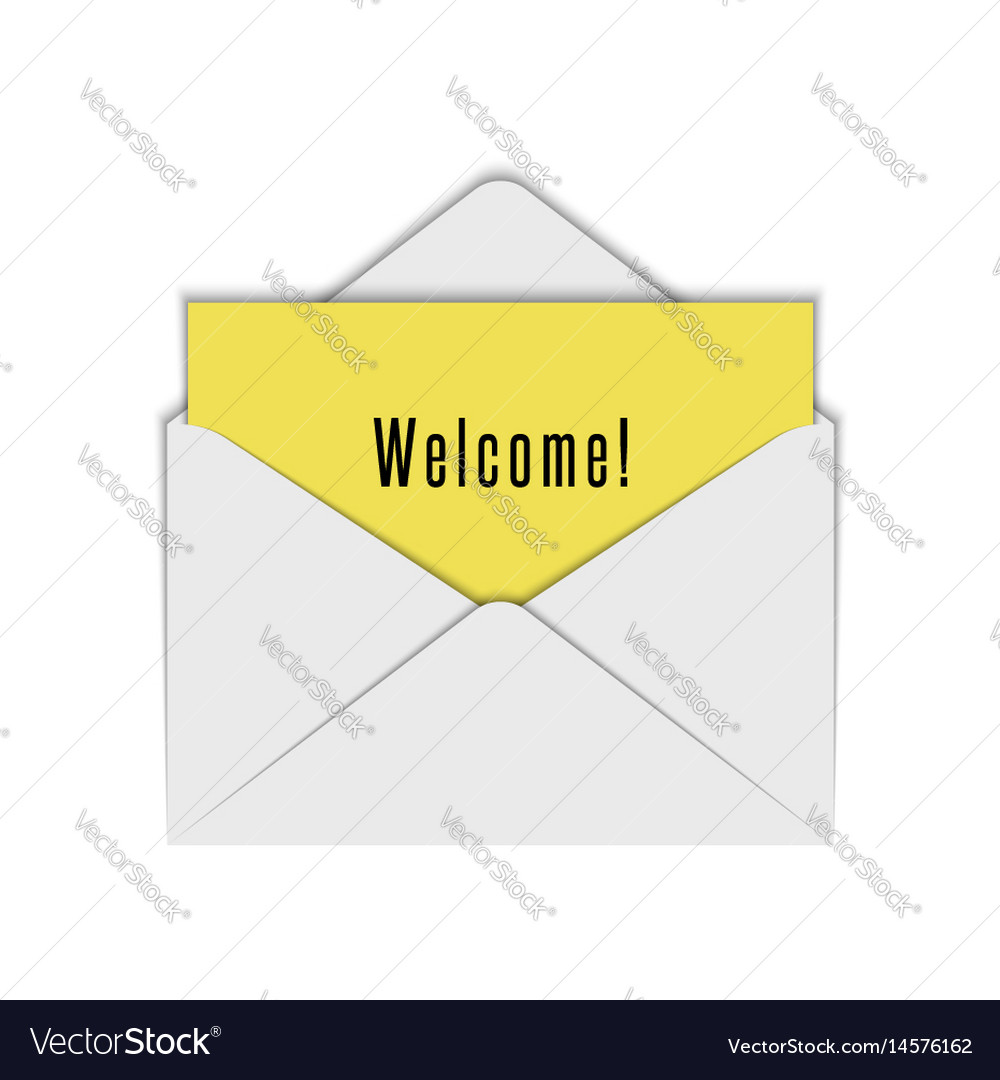 Blank realistic white envelope mockup of open vector image