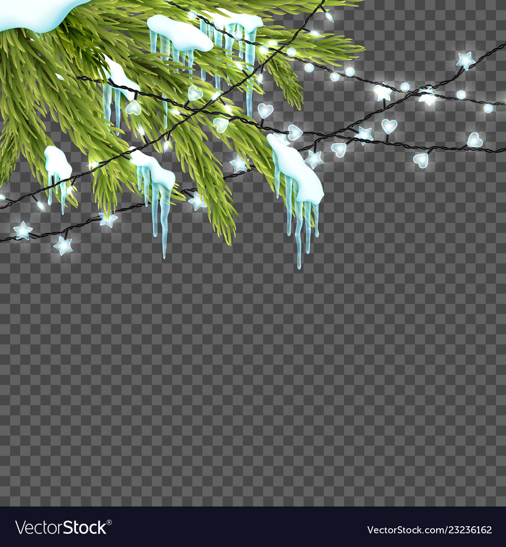 Border with realistic firtree sparkling lights