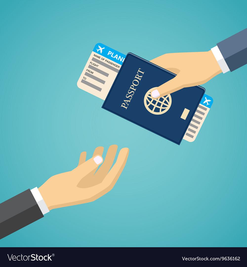 Businessman Receiving Boarding Pass and Passport
