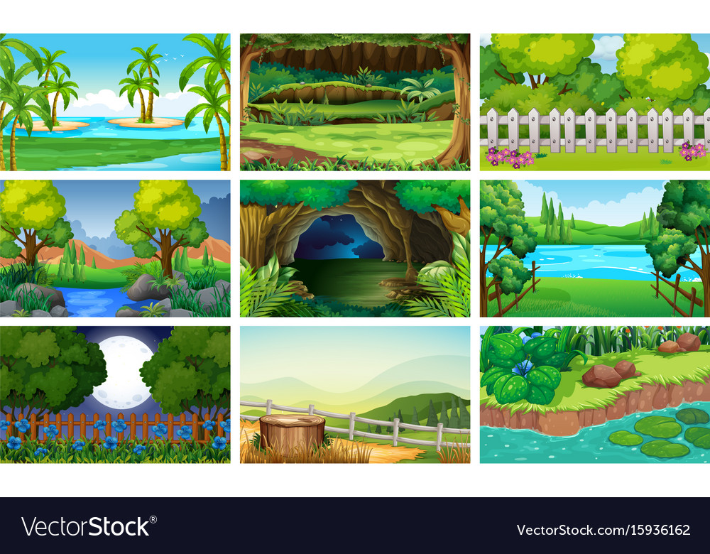 Different scenes of forest and river vector image