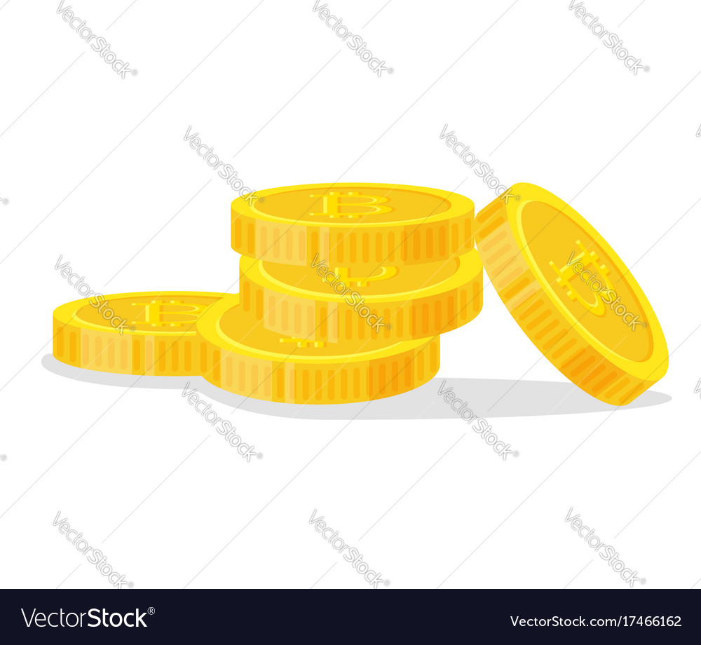 Digital bitcoins flat style isolated on white