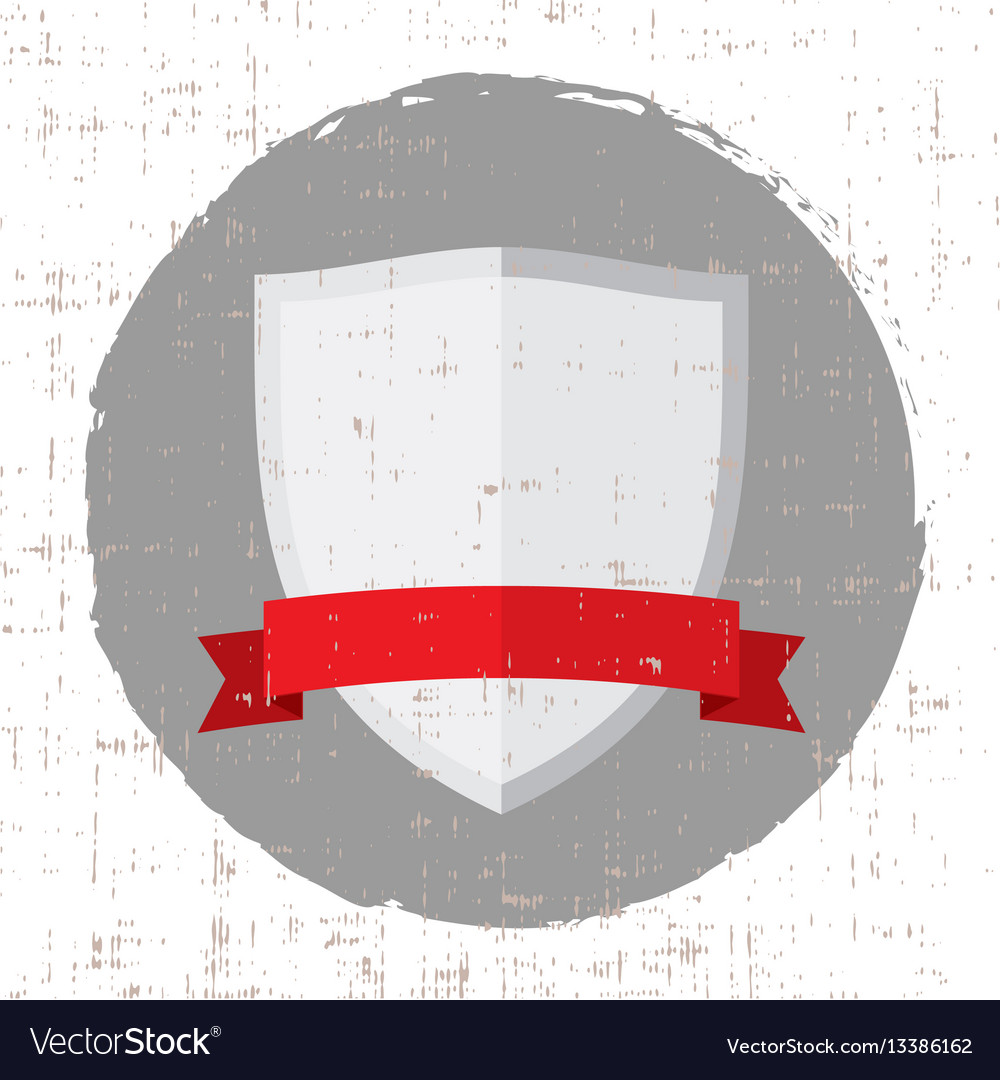 Empty silver shield icon with red banner and