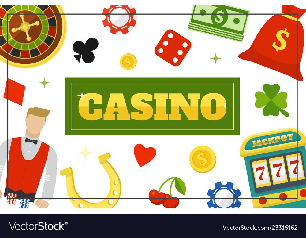 Flat casino elements concept