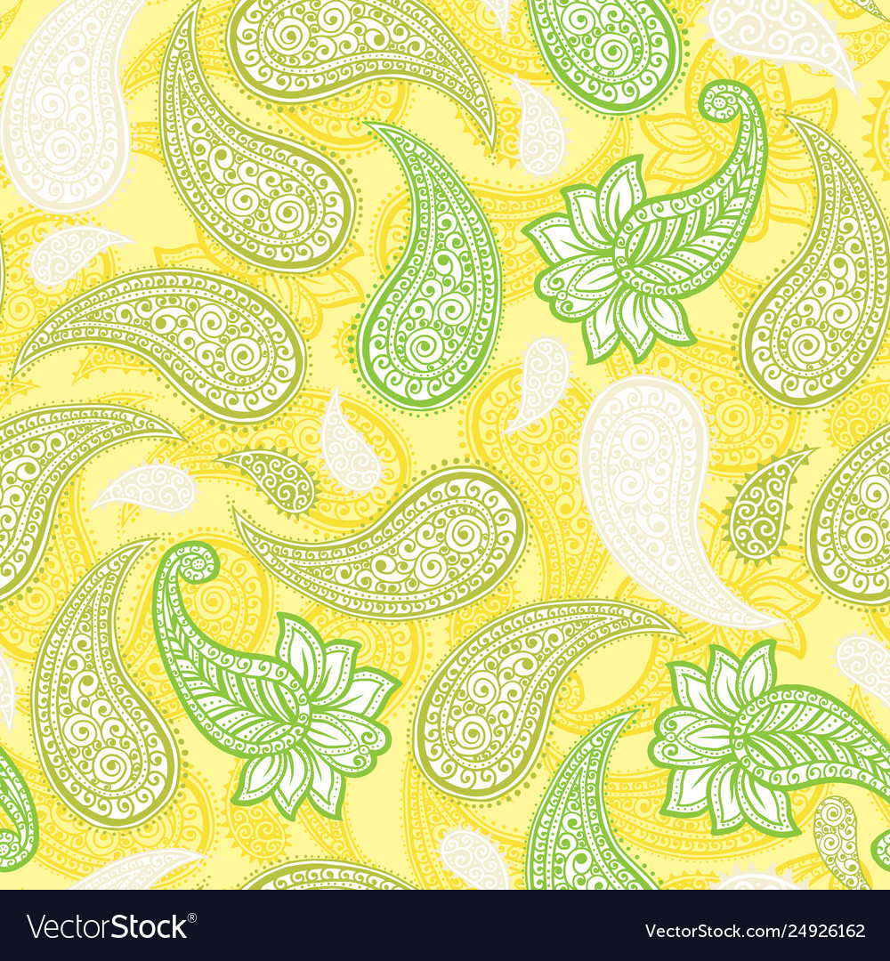 Limoncello paisleys seamless pattern with lemon