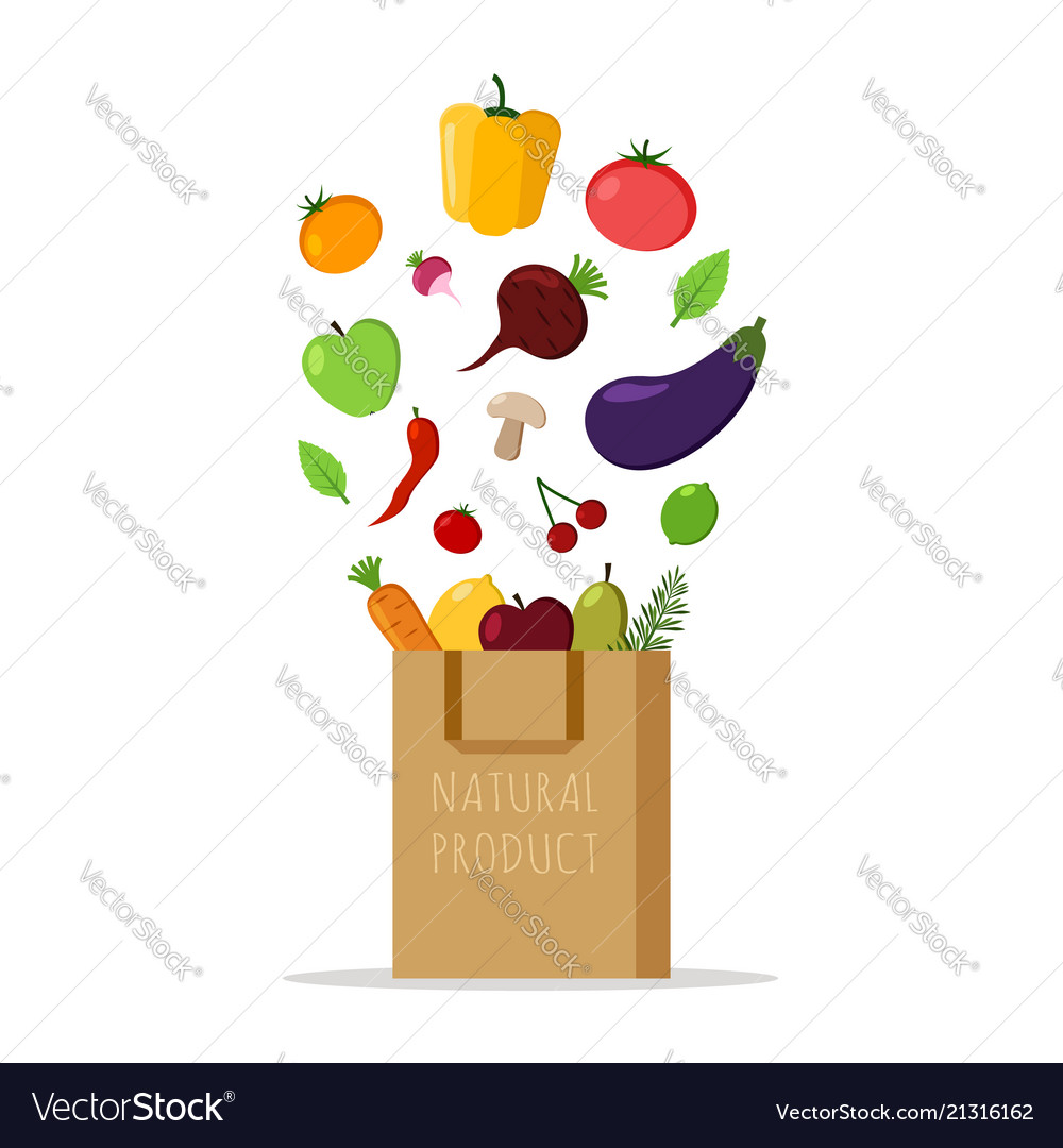 Paper bag with fresh vegetables and fruits