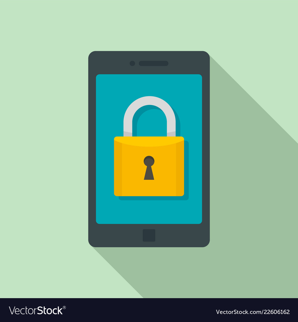 Secured smartphone icon flat style