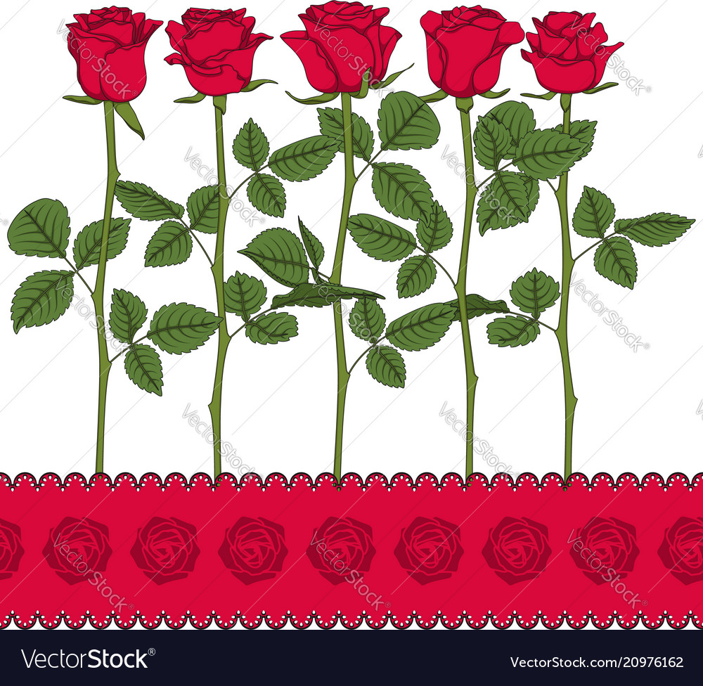 Set of color with red roses