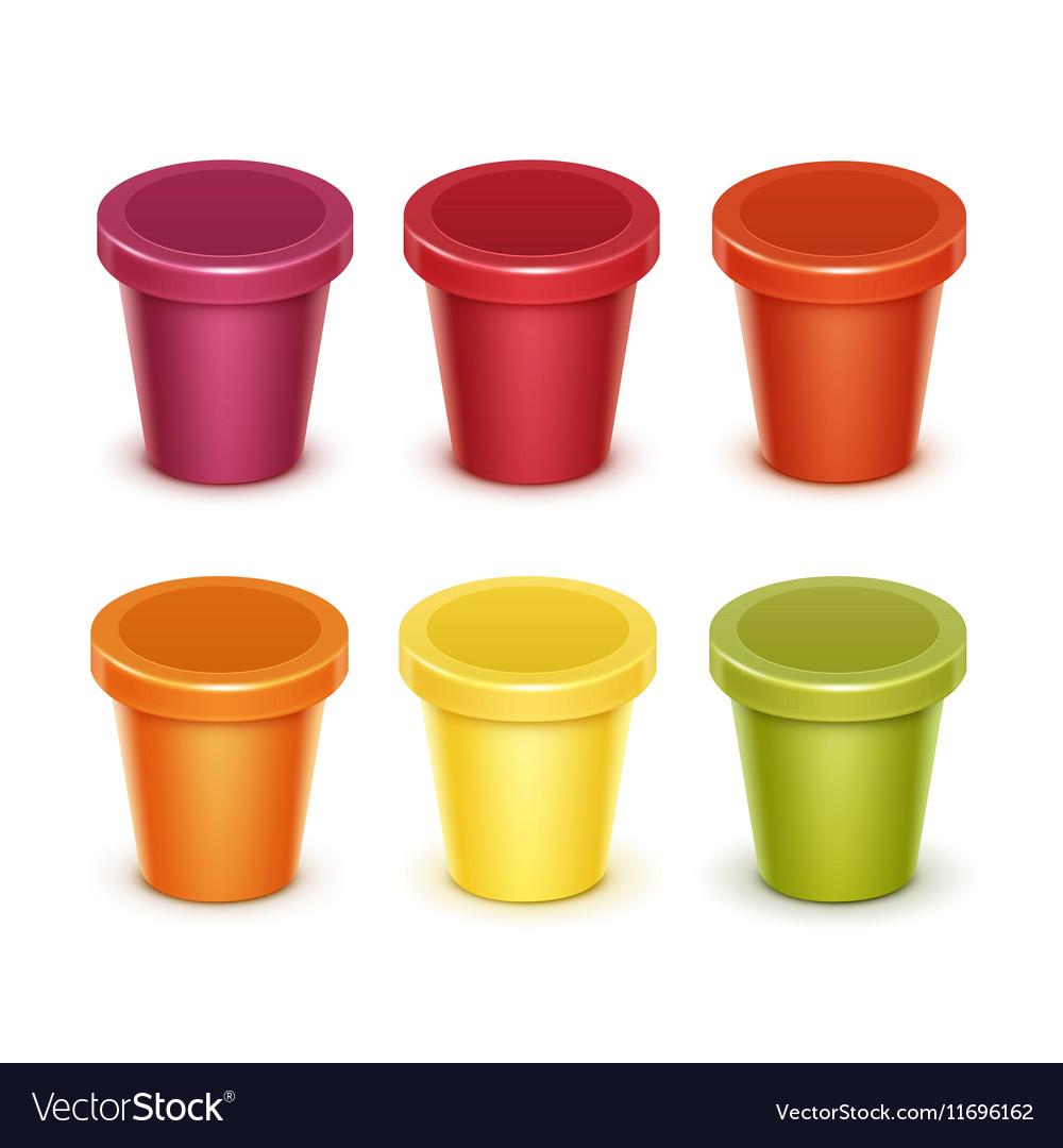 Set of Food Plastic Container For Dessert Yogurt