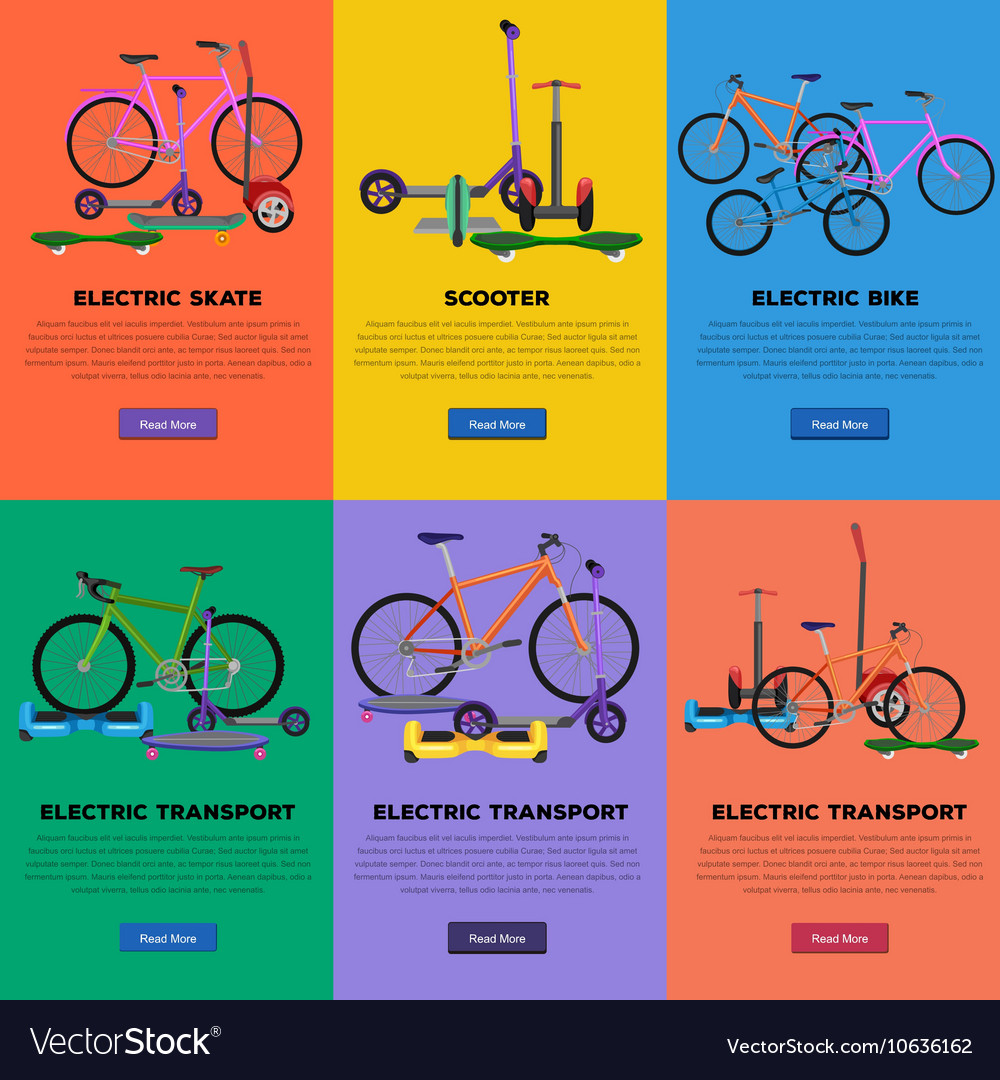 Set of self-balancing electric scooters icons vector image