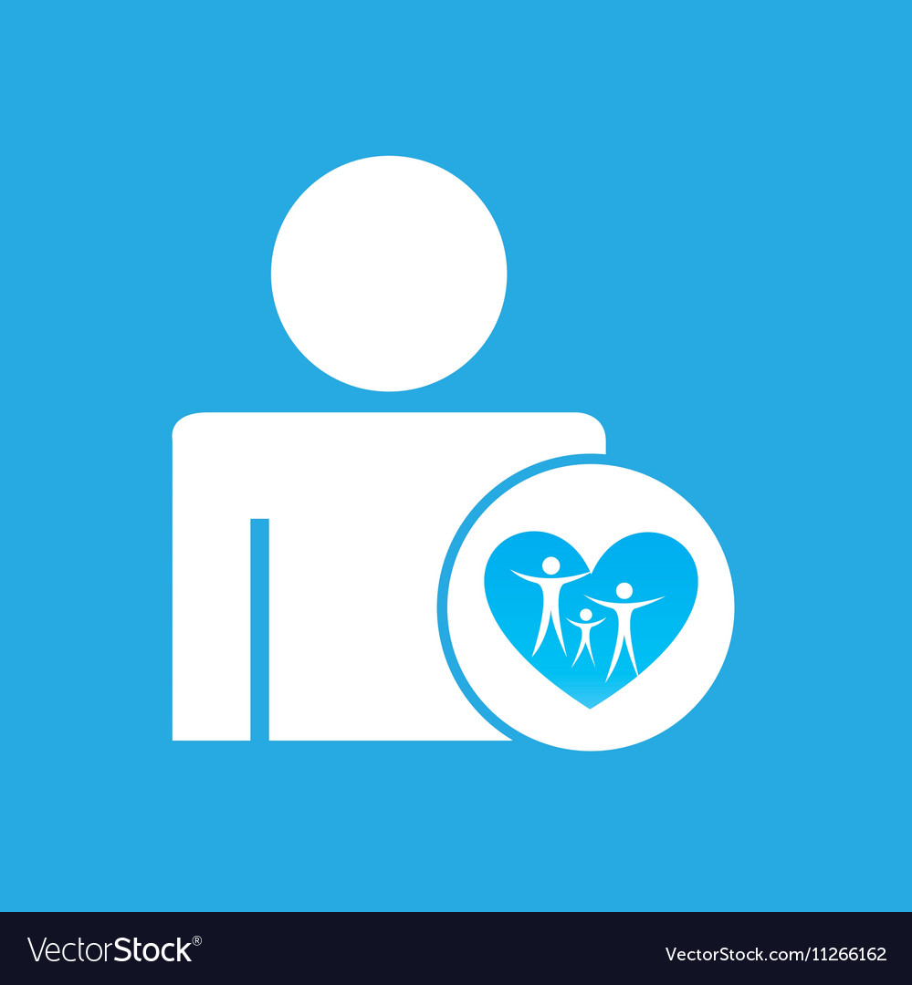 Silhouette man with family care health graphic