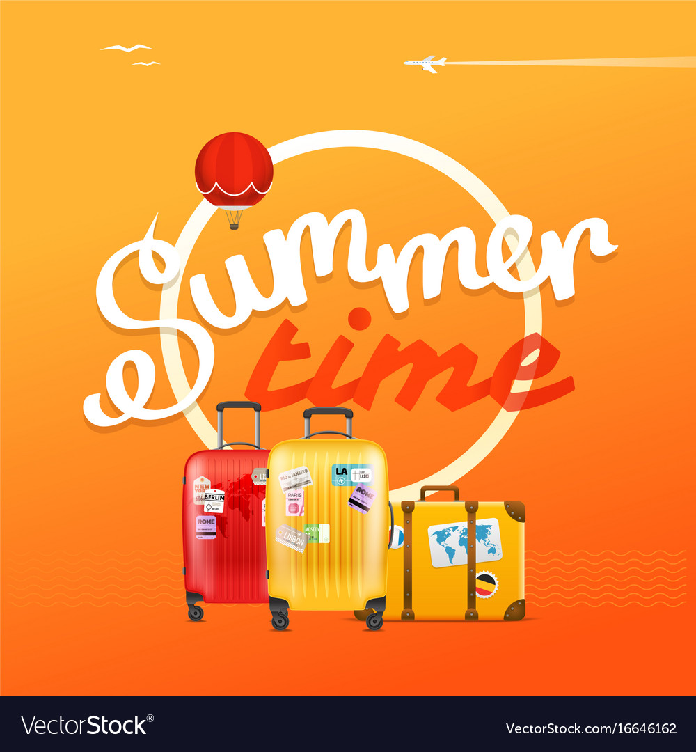 Summer time concept with color handbags