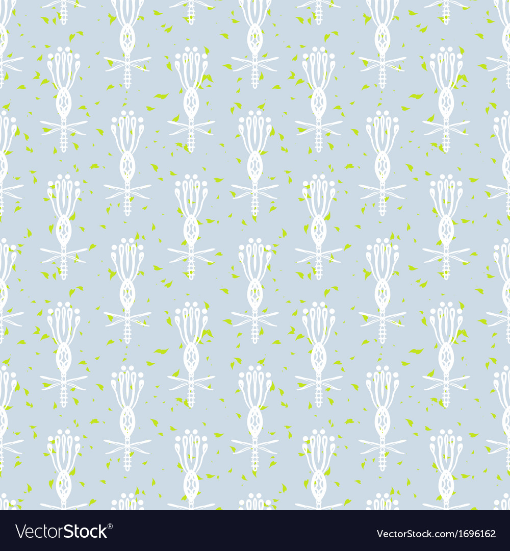 White pattern with stylized flowers