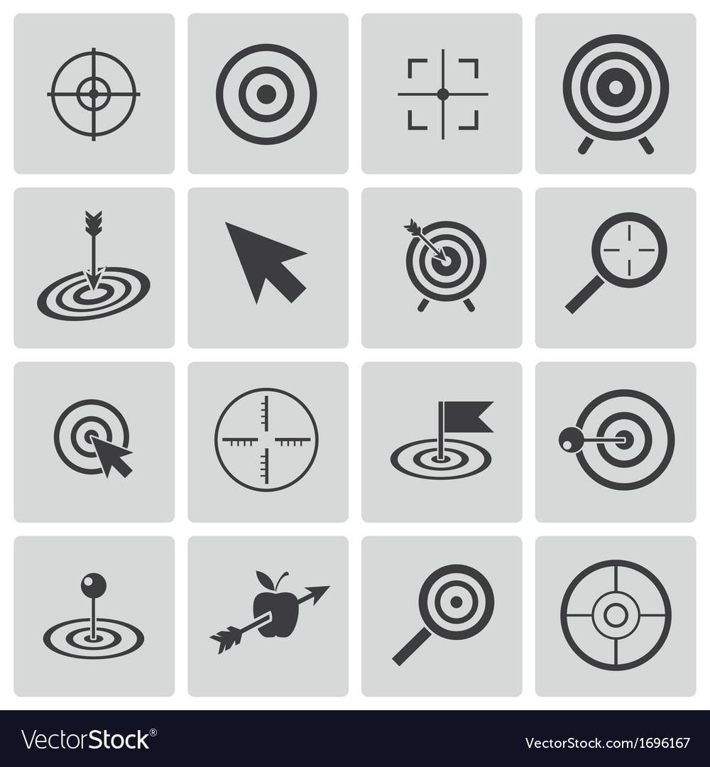 Black target icons set