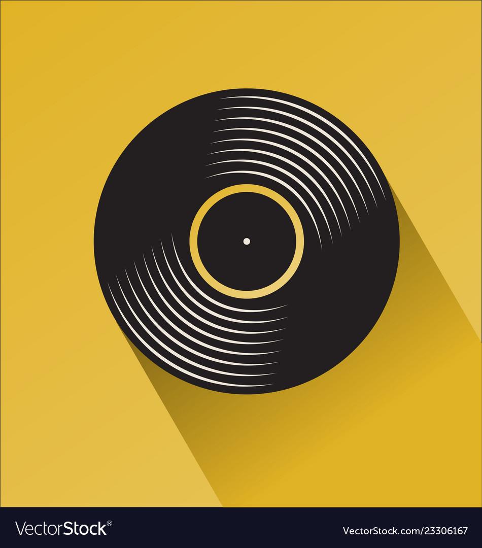 Black vinyl record disc flat concept