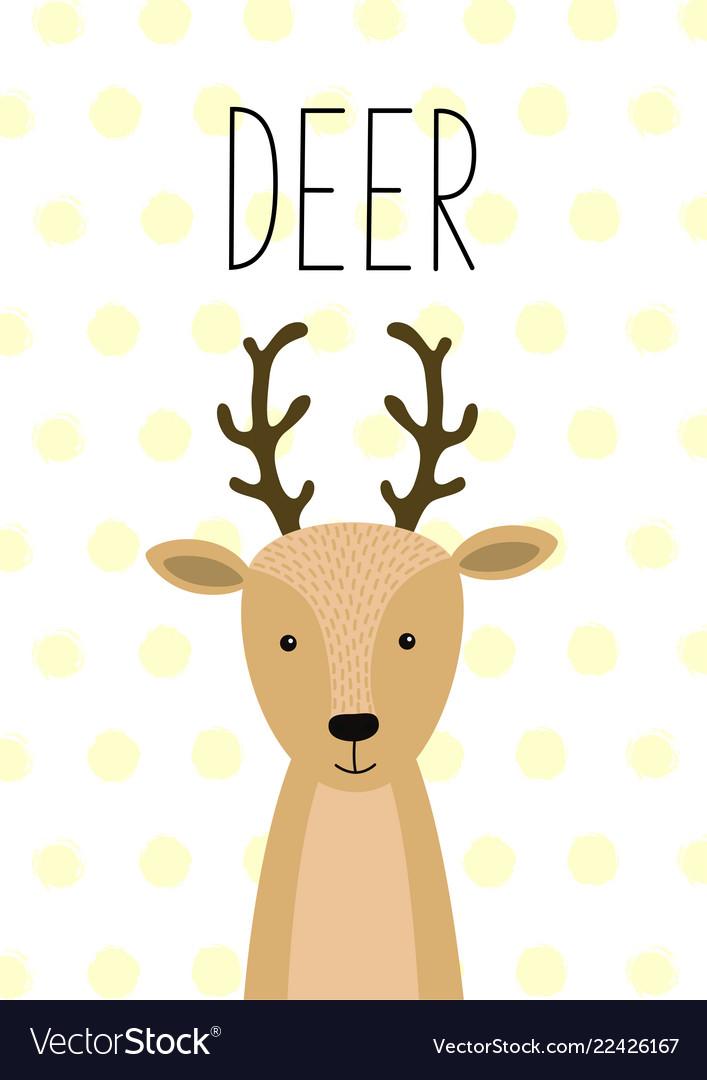 Cute deer funny poster card
