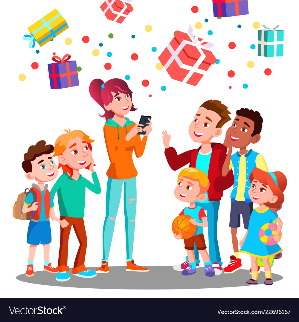 Happy children and christmas gifts falling with