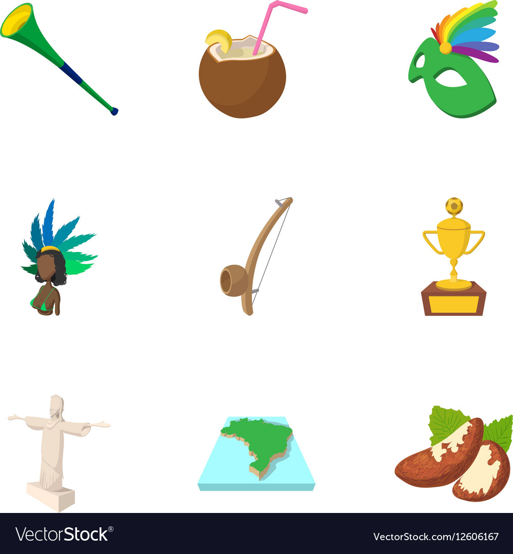 Holiday in Brazil icons set cartoon style