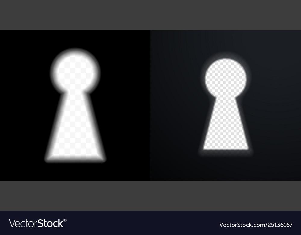 Keyhole icons door key hole with light glow blur