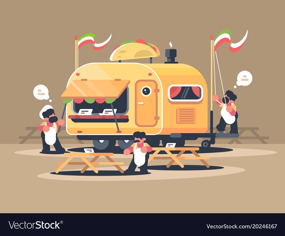 Mobile van kiosk for sale nachos vector image