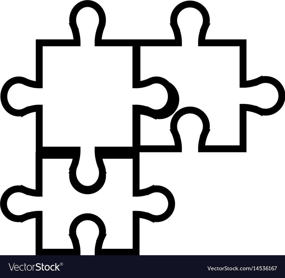 Puzzle jigsaw piece business team outline vector image