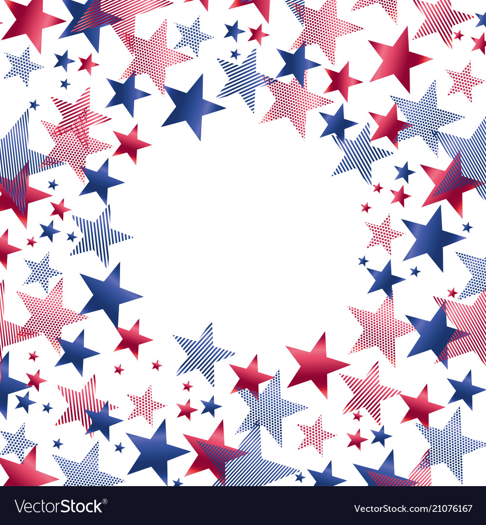 Red and blue stars in round frame