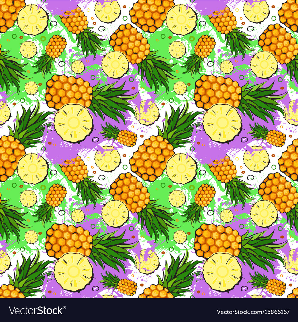 Seamless pattern pineapple fruits exotic ornament