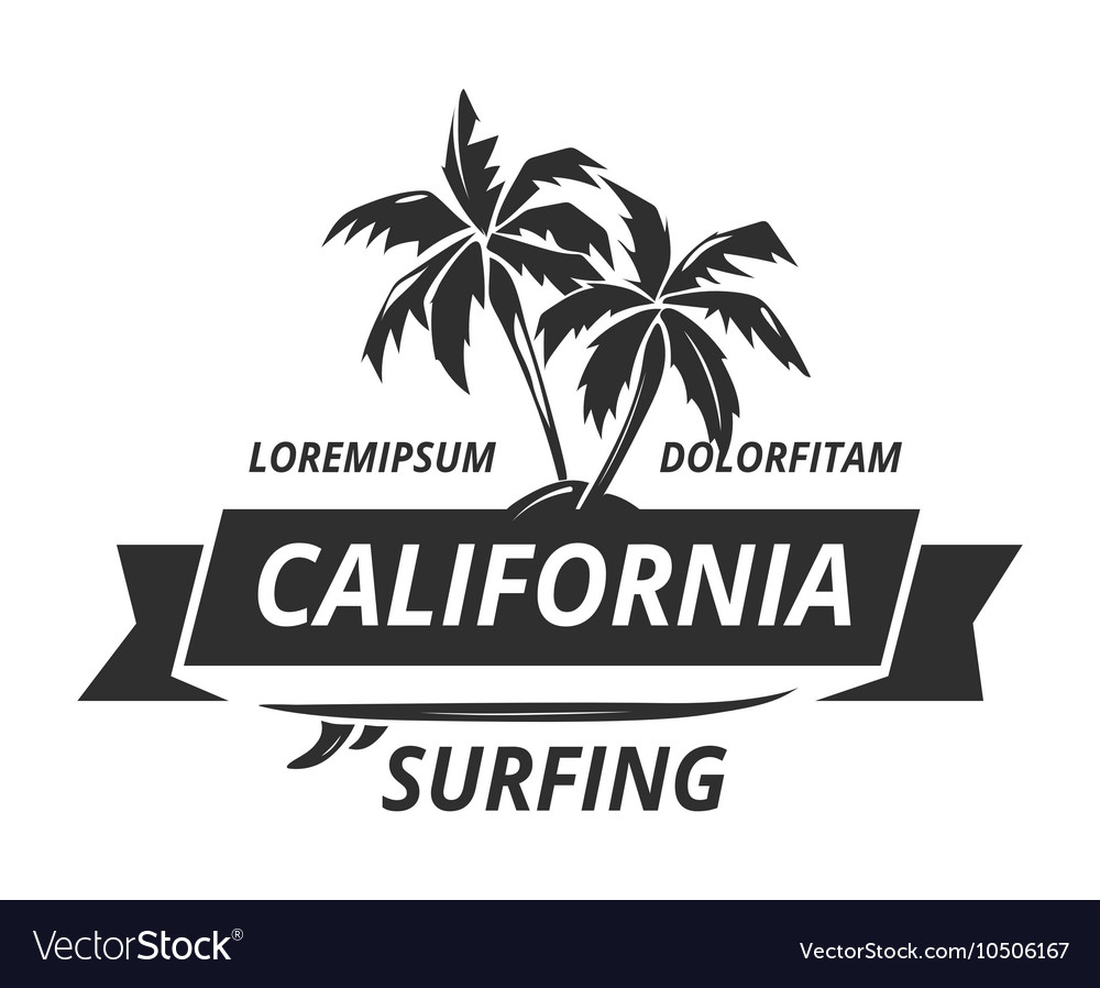 Surfing logo with palm tree