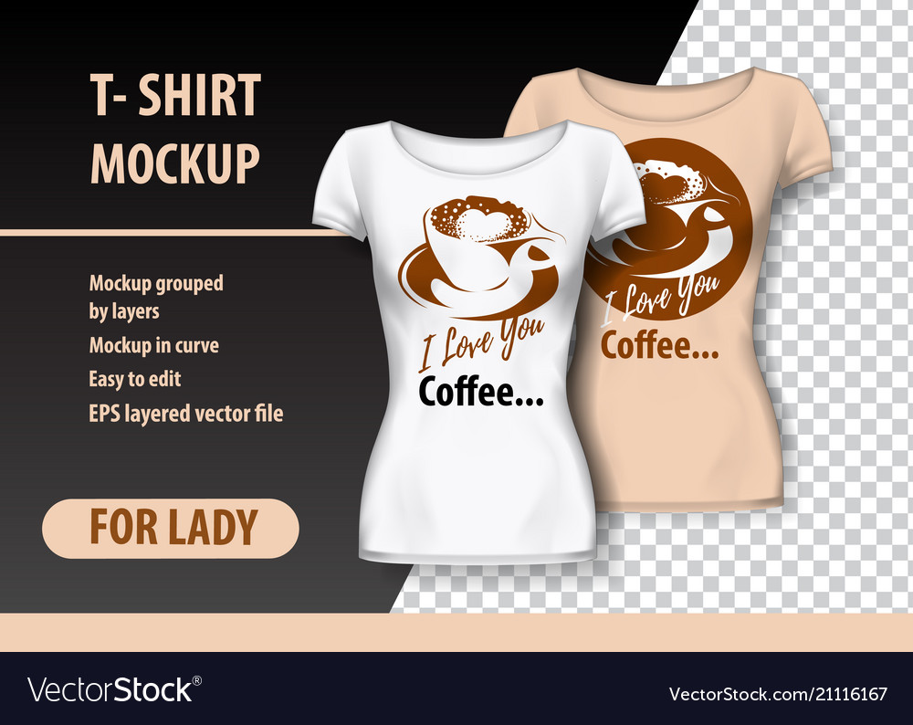 T-shirt mockup with coffee cup and funny phrase