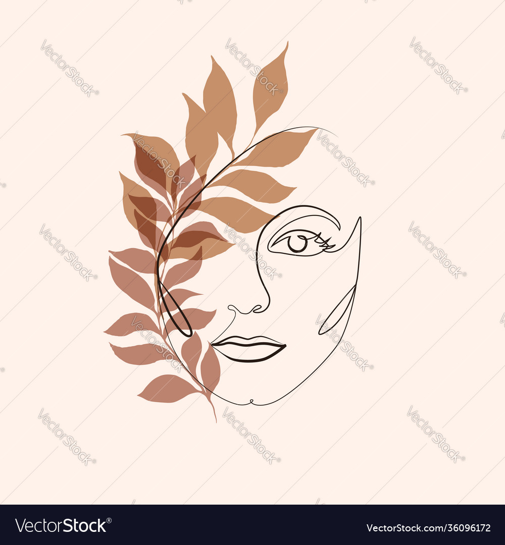 Abstract minimalistic linear sketch female face