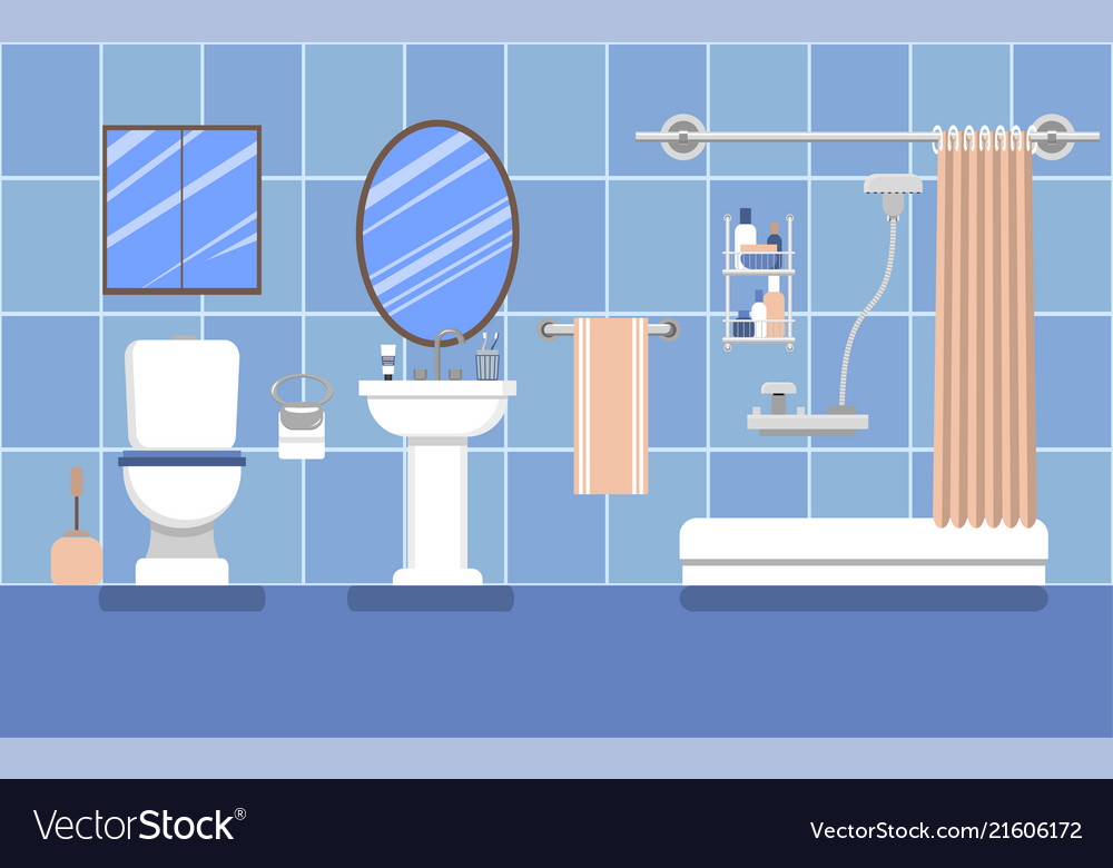 Bathroom interior in blue in a flat style