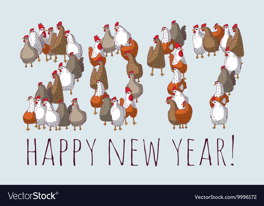 Big group sign chicken new year greeting card