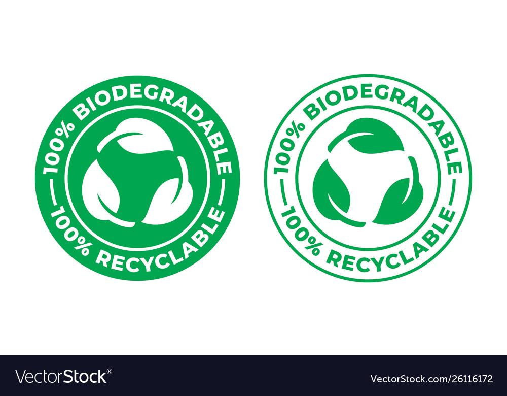 Biodegradable recyclable icon 100 percent bio