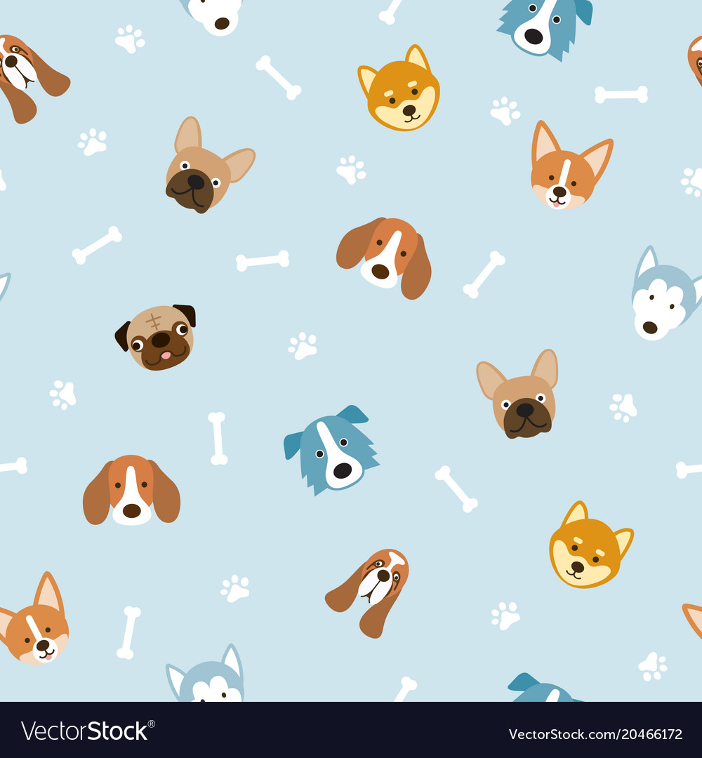 Dog breeds head seamless pattern