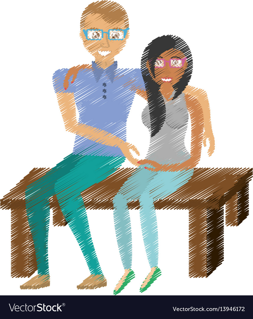 Drawing couple sitting together romance