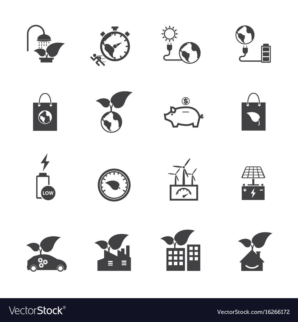 Ecology and power saving icons set flat design
