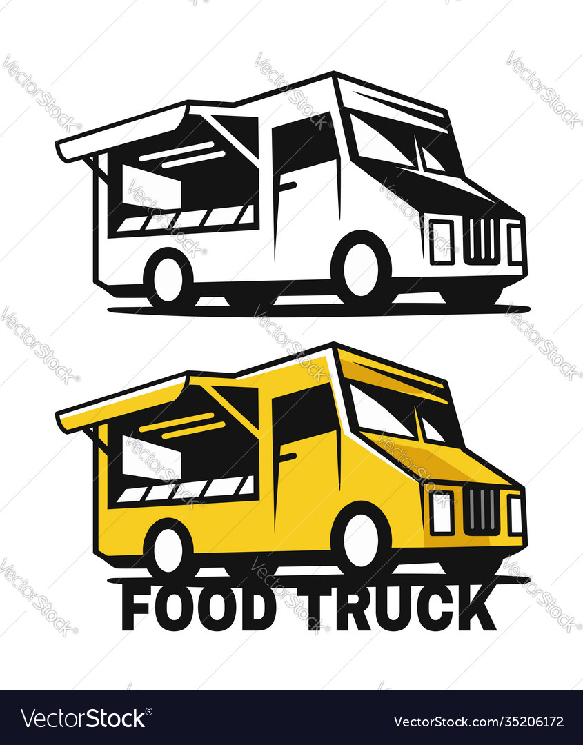 Food truck emblem black and color on a white